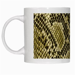 Yellow Snake Skin Pattern White Mugs by BangZart