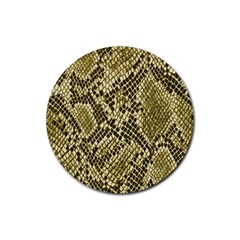 Yellow Snake Skin Pattern Rubber Round Coaster (4 Pack)  by BangZart