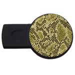 Yellow Snake Skin Pattern USB Flash Drive Round (2 GB) Front