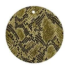 Yellow Snake Skin Pattern Round Ornament (two Sides)