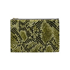 Yellow Snake Skin Pattern Cosmetic Bag (medium)  by BangZart