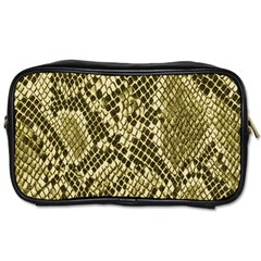 Yellow Snake Skin Pattern Toiletries Bags by BangZart
