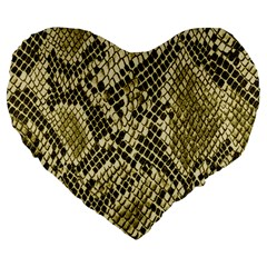 Yellow Snake Skin Pattern Large 19  Premium Heart Shape Cushions by BangZart