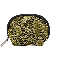 Yellow Snake Skin Pattern Accessory Pouches (small)  by BangZart