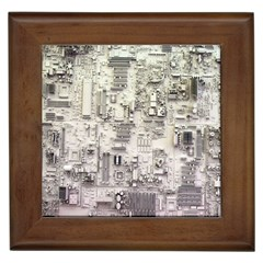 White Technology Circuit Board Electronic Computer Framed Tiles by BangZart