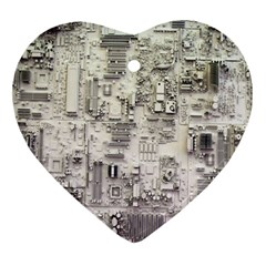 White Technology Circuit Board Electronic Computer Ornament (heart)