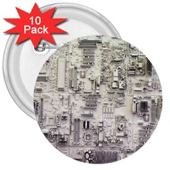 White Technology Circuit Board Electronic Computer 3  Buttons (10 Pack)  by BangZart