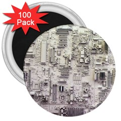 White Technology Circuit Board Electronic Computer 3  Magnets (100 Pack) by BangZart