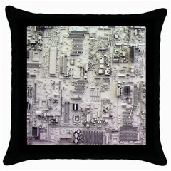 White Technology Circuit Board Electronic Computer Throw Pillow Case (black) by BangZart