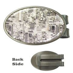 White Technology Circuit Board Electronic Computer Money Clips (oval)  by BangZart
