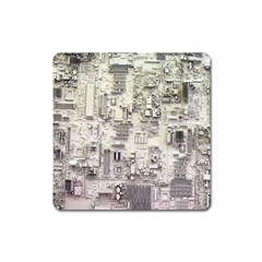 White Technology Circuit Board Electronic Computer Square Magnet by BangZart