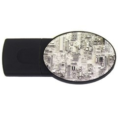 White Technology Circuit Board Electronic Computer Usb Flash Drive Oval (2 Gb) by BangZart
