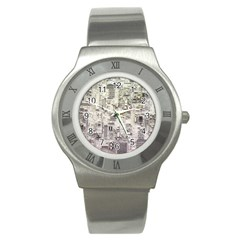 White Technology Circuit Board Electronic Computer Stainless Steel Watch by BangZart