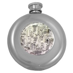 White Technology Circuit Board Electronic Computer Round Hip Flask (5 Oz) by BangZart