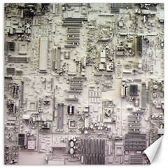 White Technology Circuit Board Electronic Computer Canvas 16  X 16   by BangZart