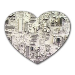 White Technology Circuit Board Electronic Computer Heart Mousepads by BangZart