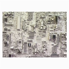 White Technology Circuit Board Electronic Computer Large Glasses Cloth by BangZart
