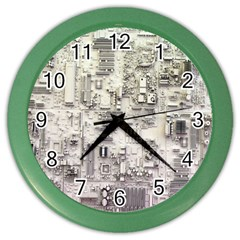 White Technology Circuit Board Electronic Computer Color Wall Clocks by BangZart