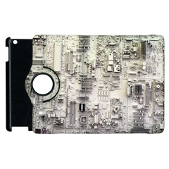White Technology Circuit Board Electronic Computer Apple Ipad 2 Flip 360 Case by BangZart