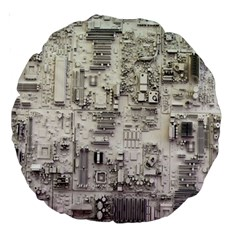 White Technology Circuit Board Electronic Computer Large 18  Premium Round Cushions by BangZart