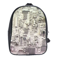White Technology Circuit Board Electronic Computer School Bags (xl)  by BangZart