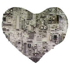 White Technology Circuit Board Electronic Computer Large 19  Premium Heart Shape Cushions