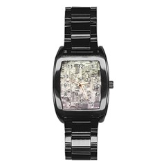 White Technology Circuit Board Electronic Computer Stainless Steel Barrel Watch by BangZart