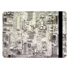 White Technology Circuit Board Electronic Computer Samsung Galaxy Tab Pro 12 2  Flip Case by BangZart
