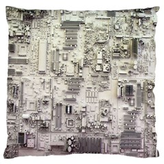 White Technology Circuit Board Electronic Computer Large Flano Cushion Case (one Side) by BangZart