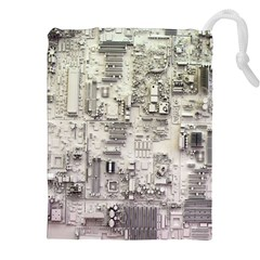 White Technology Circuit Board Electronic Computer Drawstring Pouches (xxl) by BangZart