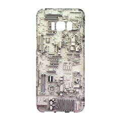 White Technology Circuit Board Electronic Computer Samsung Galaxy S8 Hardshell Case  by BangZart