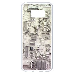 White Technology Circuit Board Electronic Computer Samsung Galaxy S8 Plus White Seamless Case by BangZart