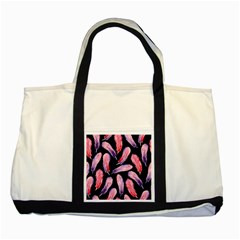 Watercolor Pattern With Feathers Two Tone Tote Bag