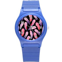 Watercolor Pattern With Feathers Round Plastic Sport Watch (s) by BangZart