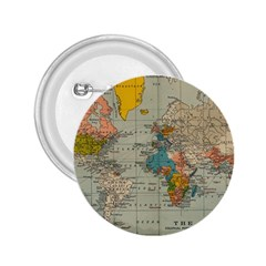 Vintage World Map 2 25  Buttons by BangZart