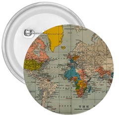 Vintage World Map 3  Buttons by BangZart