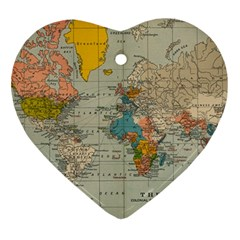 Vintage World Map Ornament (heart)