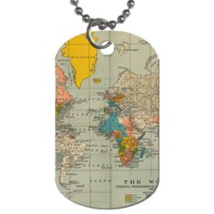 Vintage World Map Dog Tag (one Side) by BangZart