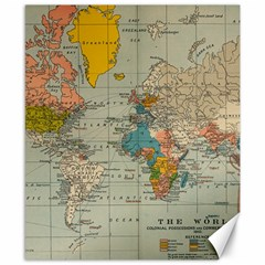 Vintage World Map Canvas 8  X 10