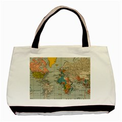 Vintage World Map Basic Tote Bag (two Sides) by BangZart