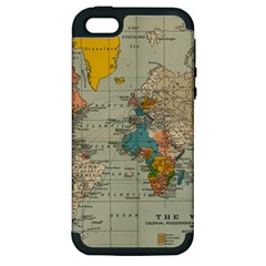 Vintage World Map Apple Iphone 5 Hardshell Case (pc+silicone) by BangZart