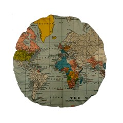 Vintage World Map Standard 15  Premium Round Cushions by BangZart
