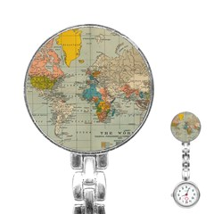 Vintage World Map Stainless Steel Nurses Watch