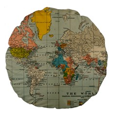 Vintage World Map Large 18  Premium Flano Round Cushions by BangZart