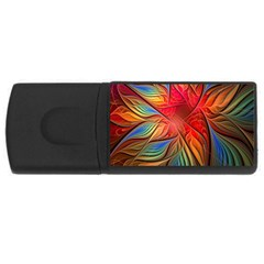 Vintage Colors Flower Petals Spiral Abstract Rectangular Usb Flash Drive by BangZart