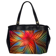Vintage Colors Flower Petals Spiral Abstract Office Handbags (2 Sides)  by BangZart