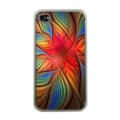Vintage Colors Flower Petals Spiral Abstract Apple Iphone 4 Case (clear) by BangZart
