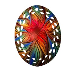Vintage Colors Flower Petals Spiral Abstract Oval Filigree Ornament (two Sides) by BangZart