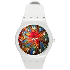 Vintage Colors Flower Petals Spiral Abstract Round Plastic Sport Watch (m) by BangZart