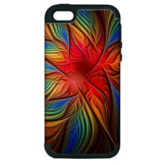 Vintage Colors Flower Petals Spiral Abstract Apple Iphone 5 Hardshell Case (pc+silicone) by BangZart